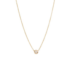 14K SINGLE FLOATING DIAMOND NECKLACE