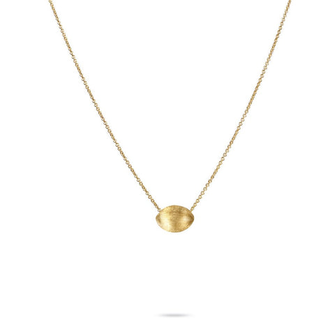 18K Yellow Gold Oval Bead Pendant
