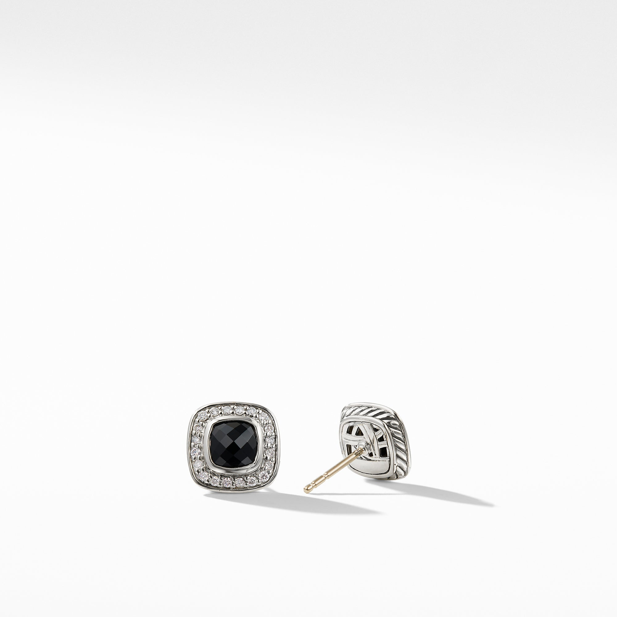 Petite Albion Earrings with Black Onyx and Diamonds