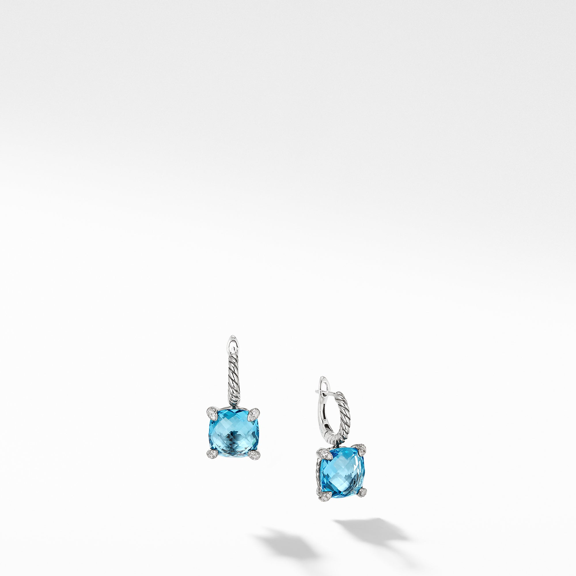 Chatelaine® Drop Earrings with Blue Topaz and Diamonds