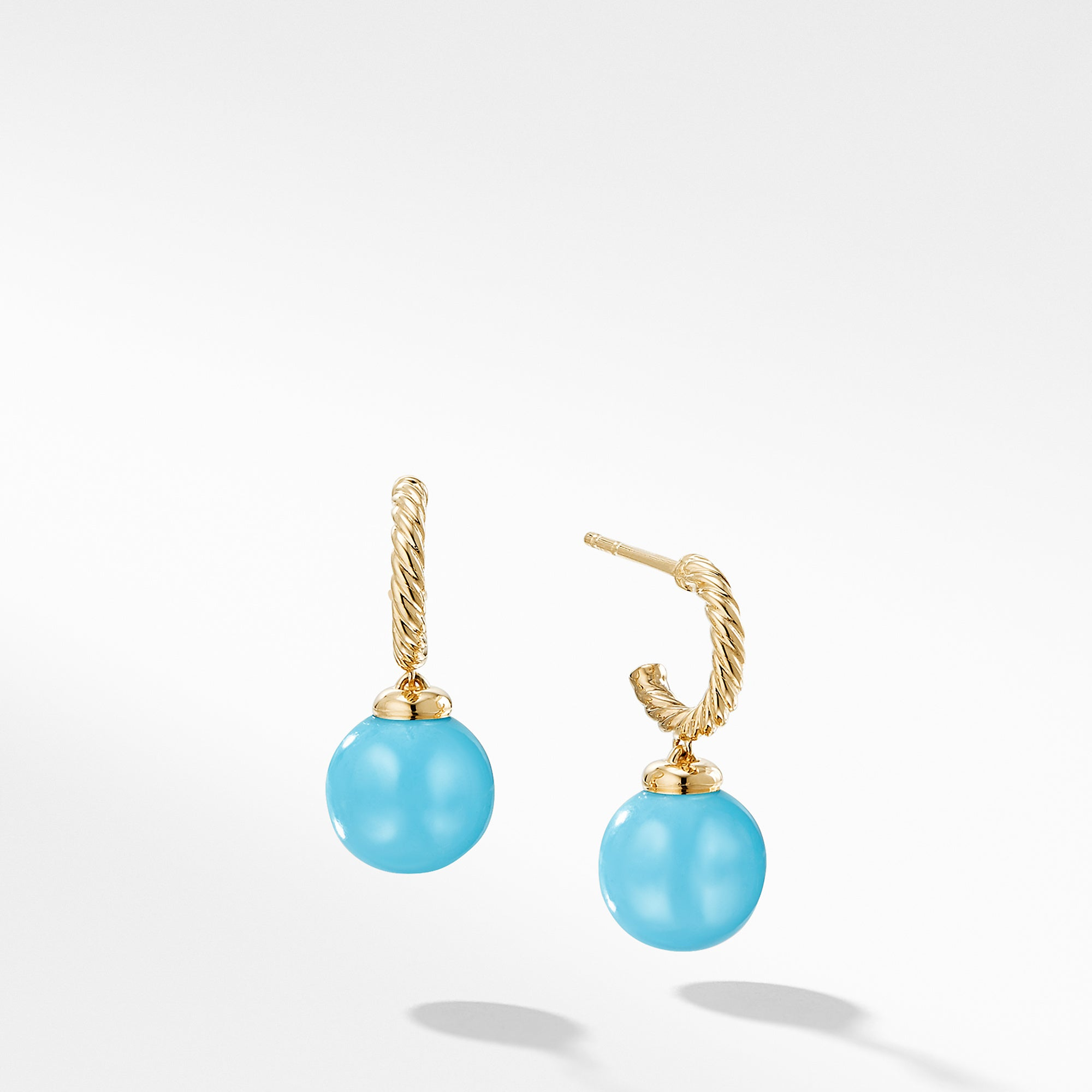Solari Hoop Earrings with Turquoise in 18K Gold