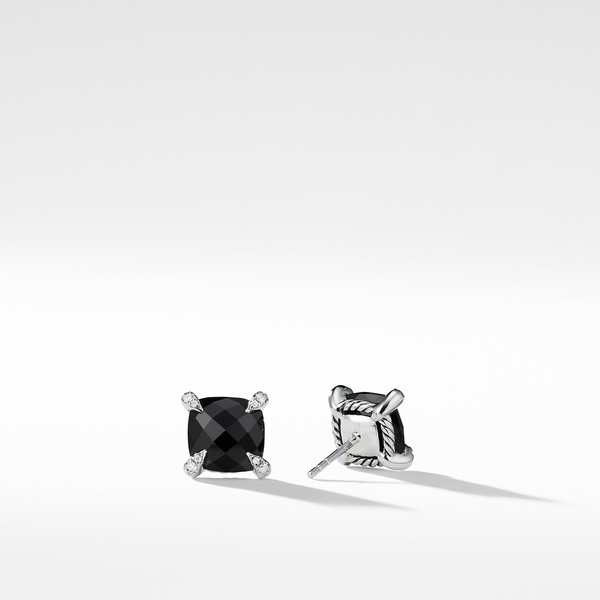 Chatelaine® Stud Earrings with Black Onyx and Diamonds, 9mm