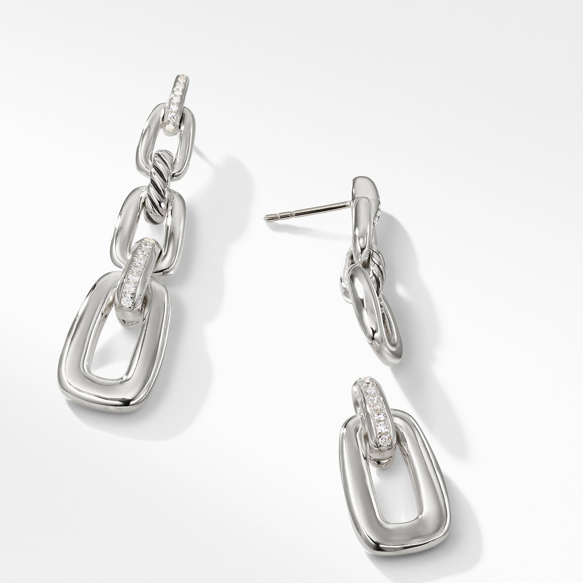 Wellesley Linked Chain Drop Earrings with Diamonds
