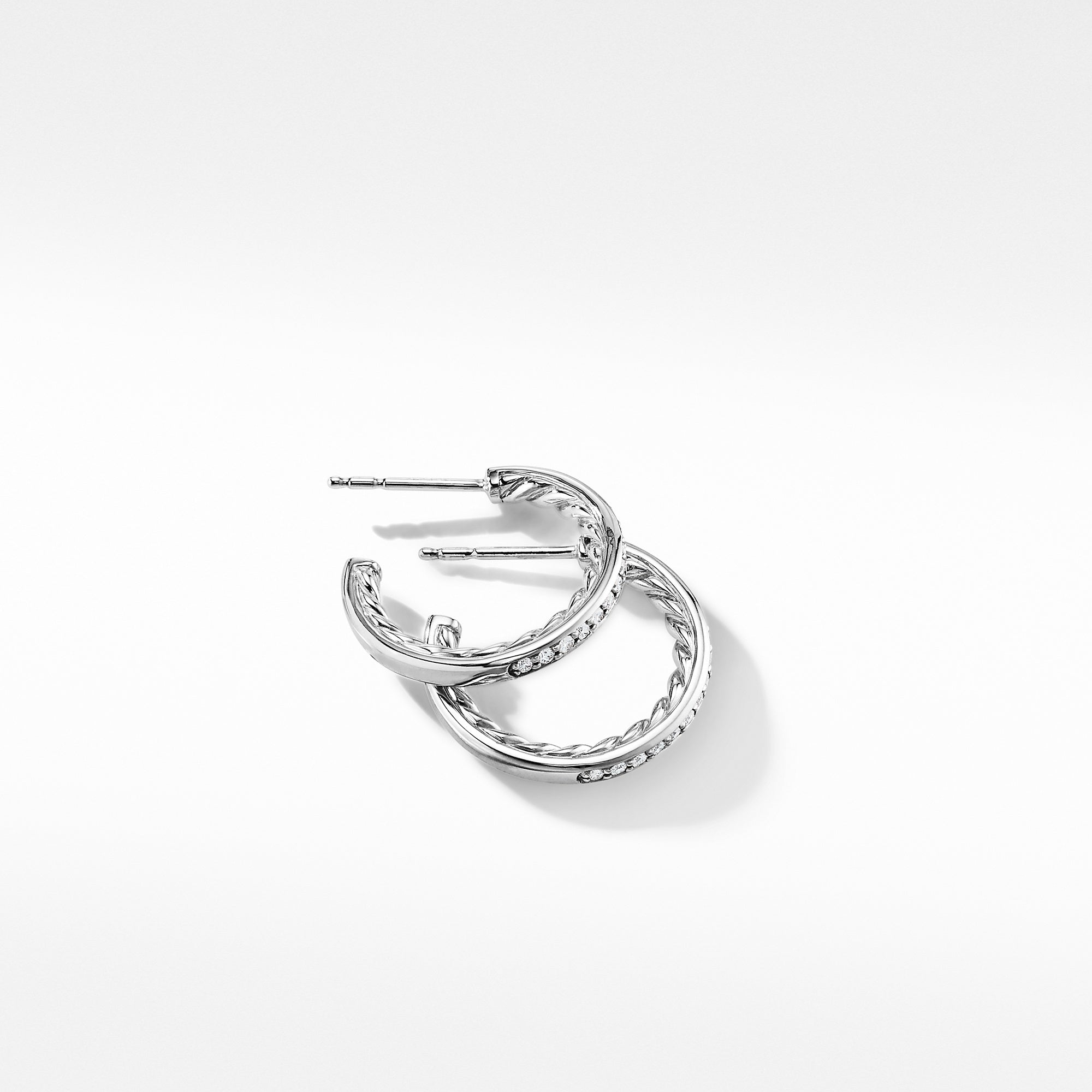 Extra-Small Hoop Earrings in with Pavé Diamonds