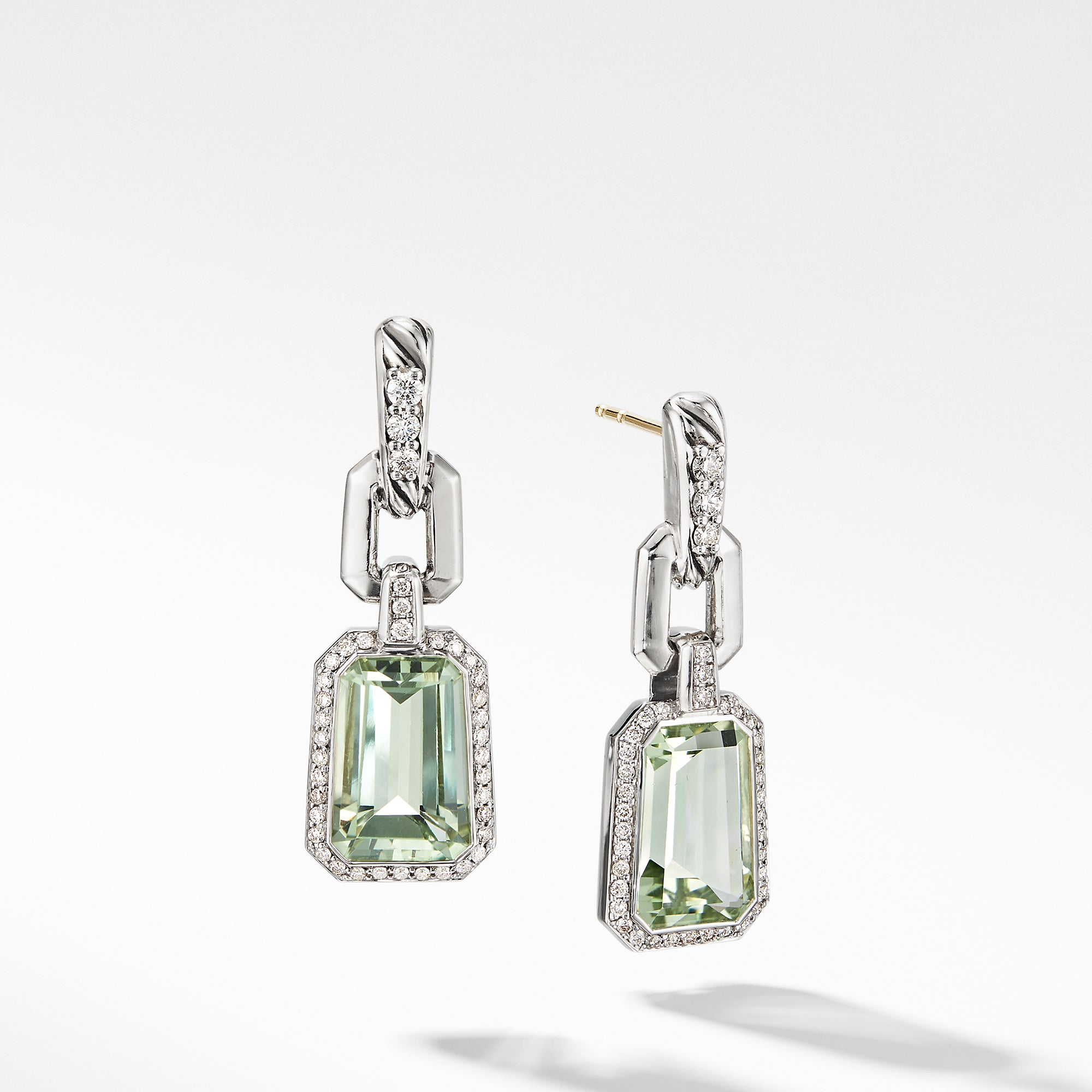 Stax Drop Earrings with Prasiolite and Diamonds