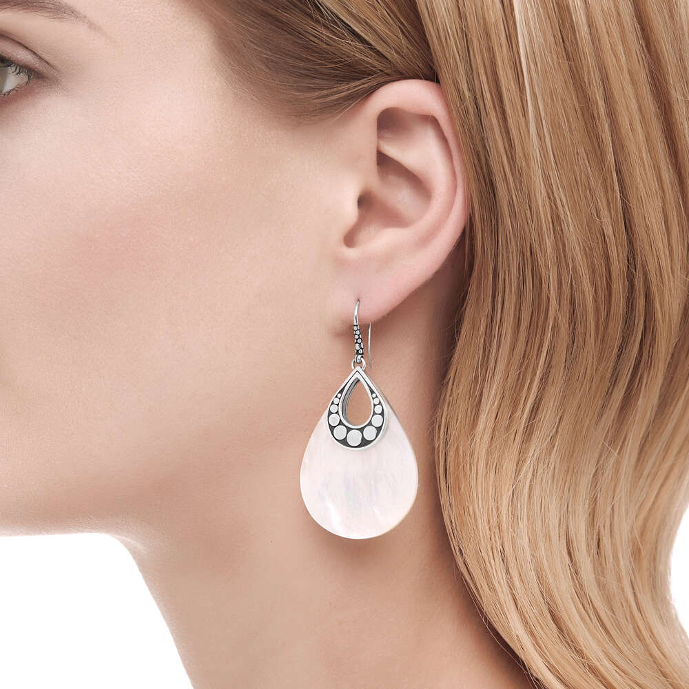 Dot Mother of Pearl Drop Earrings