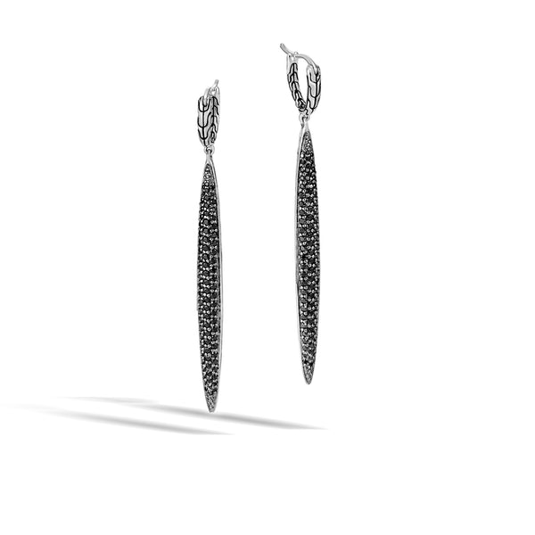 Classic Chain Drop Earring with Black Sapphire, Black Spine