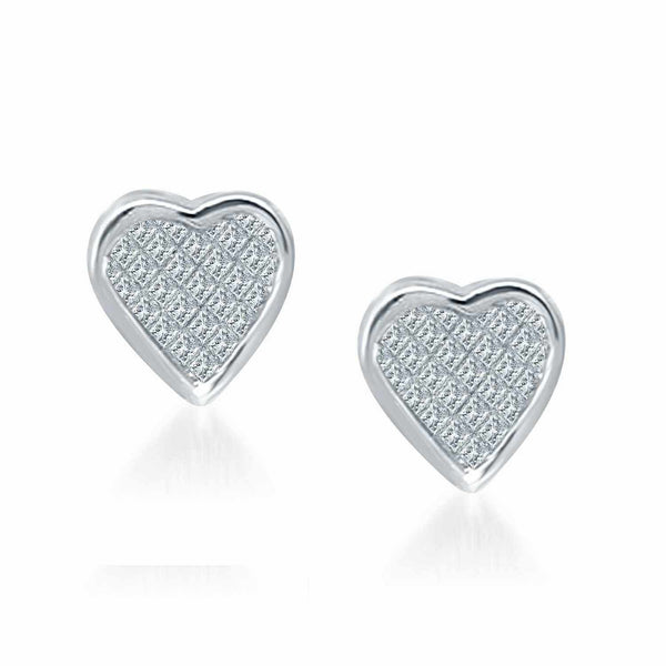 14K White Gold Diamond Heart Stud Earrings (.50 ct. tw.)