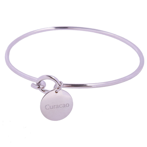 Curaçao Love Sterling Silver Charm Bangle