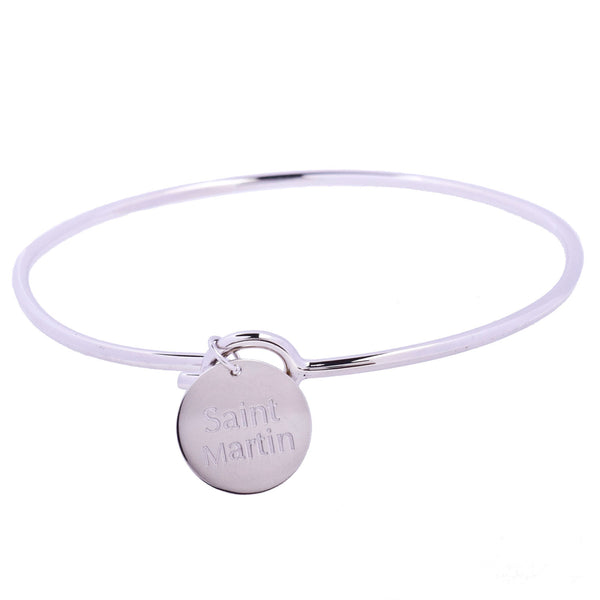 Saint Martin Love Sterling Silver Charm Bangle