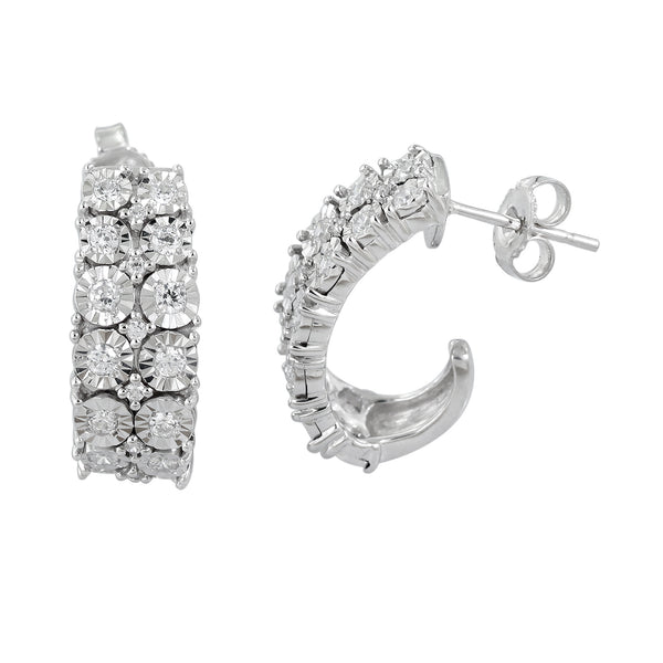 1.0 CTW Diamond Hoop Earring