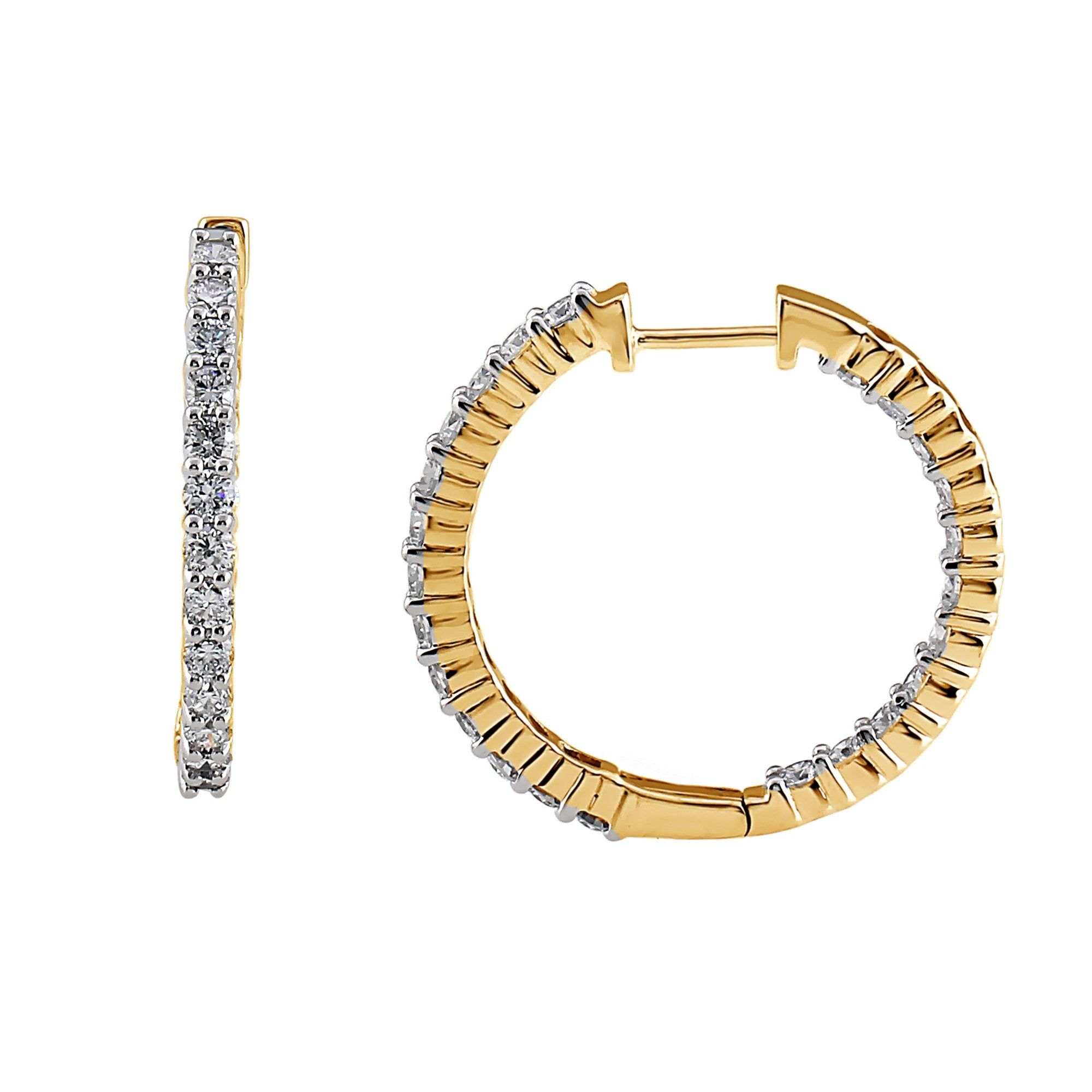 "2.00CTTW Lab Grown Diamond Inside Out Hoops in 14K Gold, 1"" Diameter"