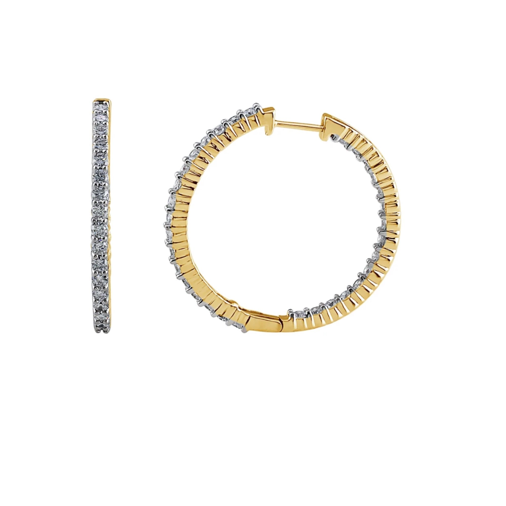 "3.00CTTW Lab Grown Diamond Inside Out Hoops in 14K Gold, 1.5"" Diameter"