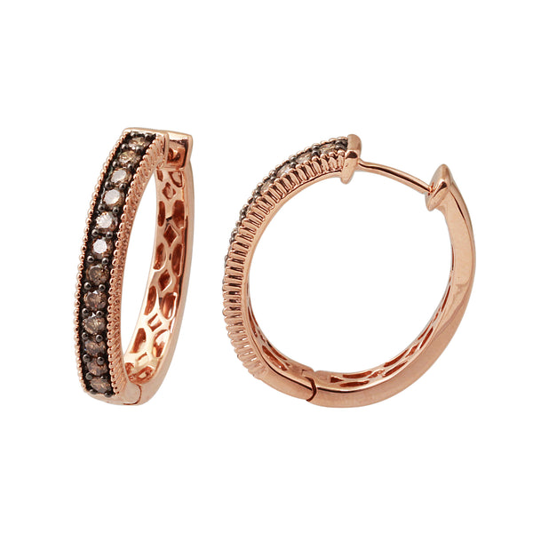 1.0 CTW Brown Diamond Hoop Earring