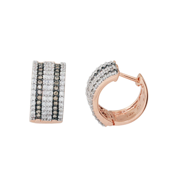1.0 CTW Brown and White Round Diamond Small Hoop Earring