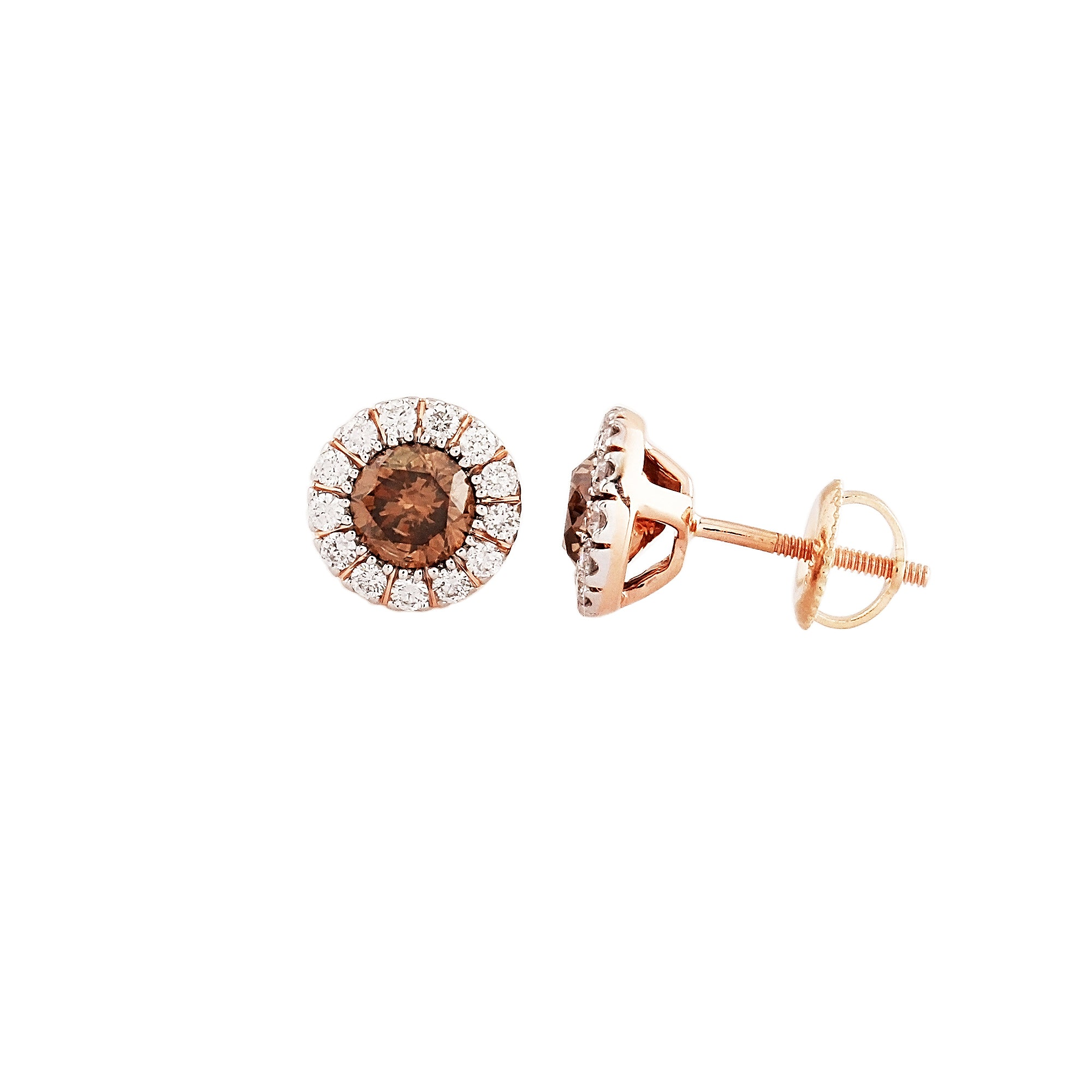 1.50 CTW Brown and White Round Diamond Earring