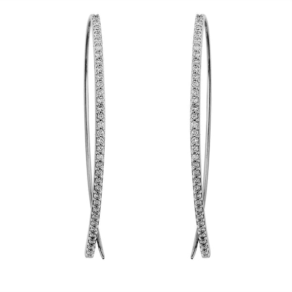 Halo Lab-Grown Diamond Open Hoop Earrings - Sterling Silver (.75 ct. tw.)