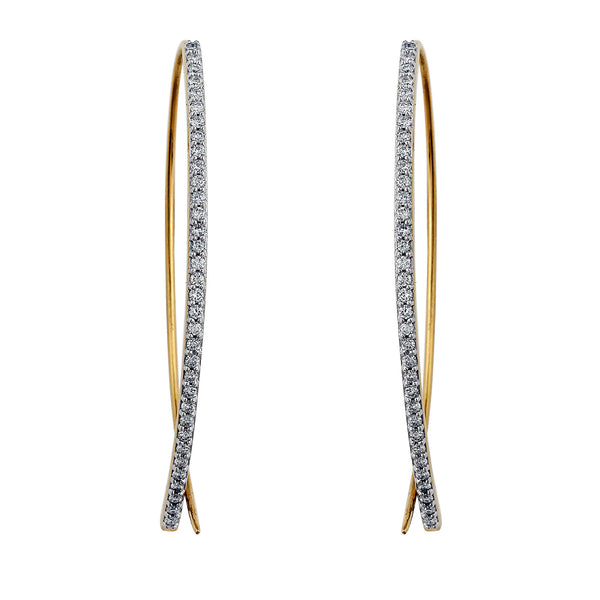 Halo Lab-Grown Diamond Open Hoop Earrings - 14k Gold Over Sterling Silver (.75 ct. tw.)