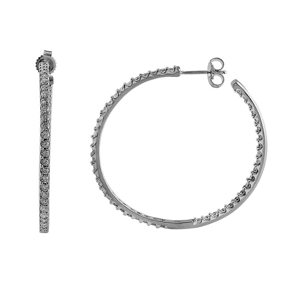 Halo Lab-Grown Diamond Hoop Earrings - Sterling Silver (2.00 ct. tw.)