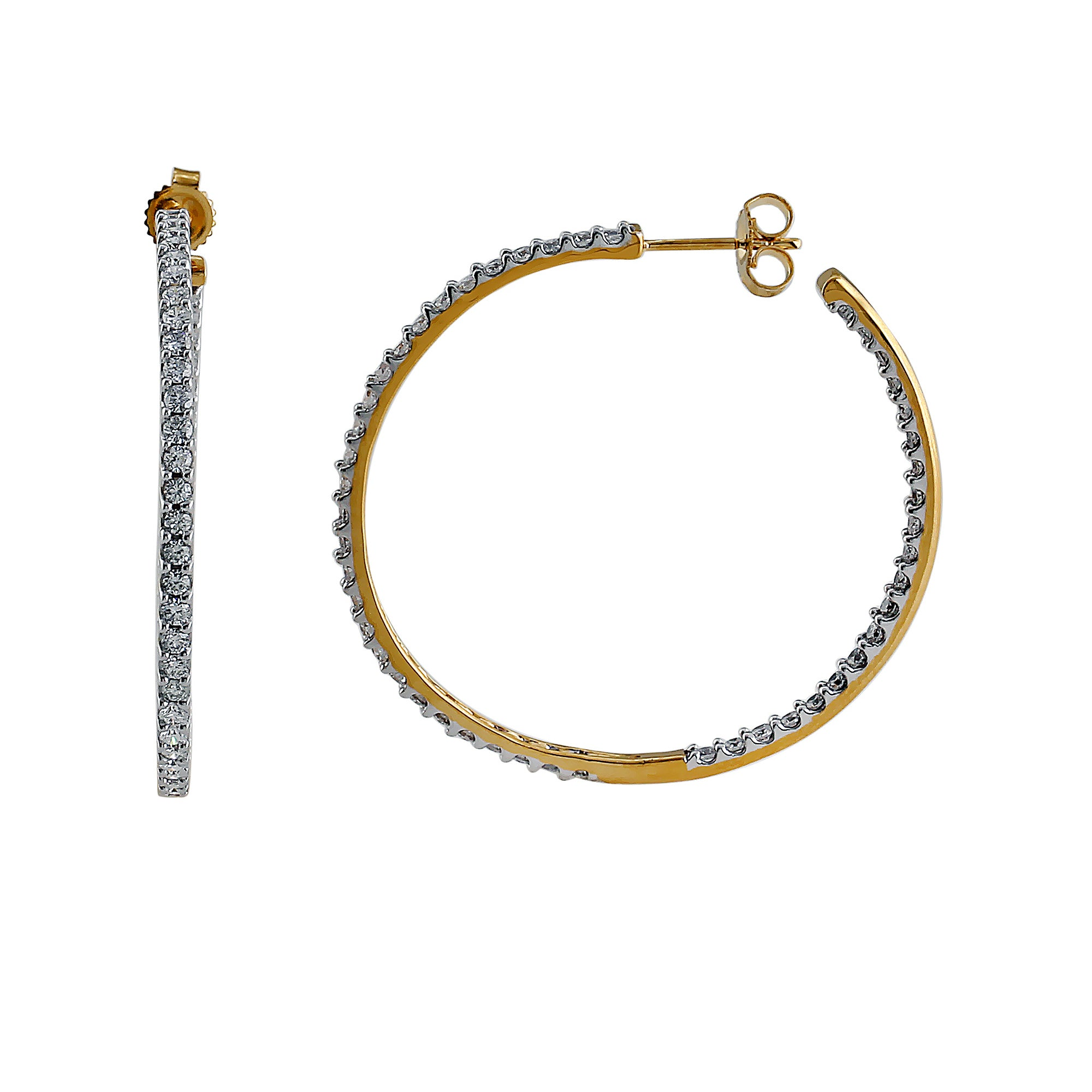 Halo Lab-Grown Diamond Hoop Earrings - 14k Gold Over Sterling Silver (2.00 ct. tw.)