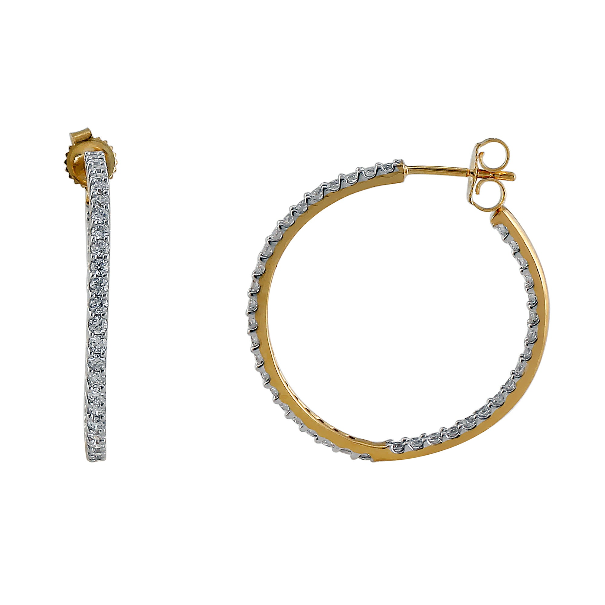 Halo Lab-Grown Diamond Hoop Earrings - 14k Gold Over Sterling Silver (1.00 ct. tw.)
