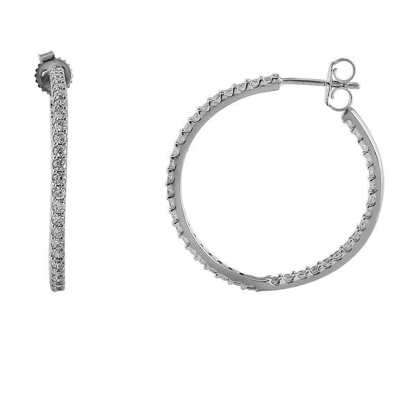 Halo Lab-Grown Diamond Hoop Earrings - Sterling Silver (1.00 ct. tw.)