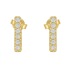 Flash Small Bar Lab-Grown Diamond Stud Earrings - 14k Gold Over Sterling Silver (.25 ct. tw.)