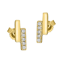 Flash Double Bar Lab-Grown Diamond Stud Earrings - 14k Gold Over Sterling Silver (.10 ct. tw.)