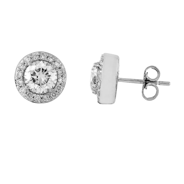 14K White Gold 2.00CTTW Lab Ground Diamond Halo Stud Earrings