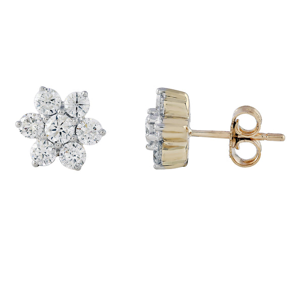 14K Yellow Gold 1.00CTTW Lab Grown Diamond Tiny Flower Stud Earrings