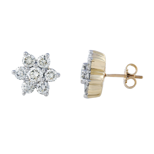 14K Yellow Gold 2.00CTTW Lab Grown Diamond Small Flower Stud Earrings