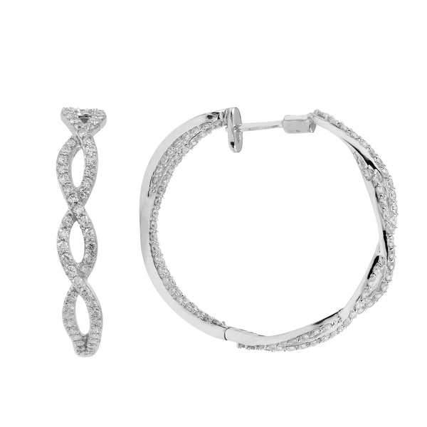 14K White Gold 2.50CTTW Lab Grown Diamond Twisted Pave Hoop Earrings