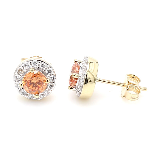 14K Yellow Gold 1.07CTTW Orange and White Lab Grown Diamond Halo Stud Earrings