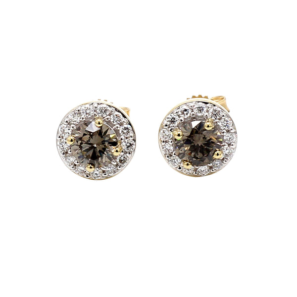 14K Yellow Gold 1.05CTTW Olive and White Lab Grown Diamond Halo Stud Earrings