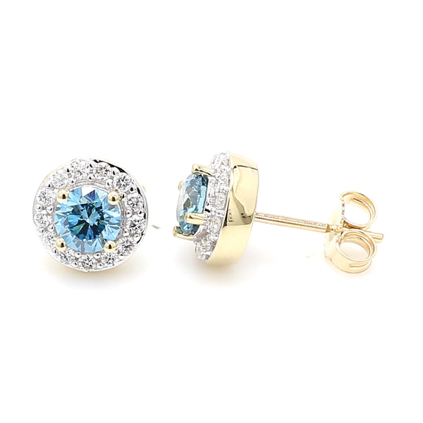14K Yellow Gold 1.05CTTW Royal Blue and White Lab Grown Diamond Halo Stud Earrings