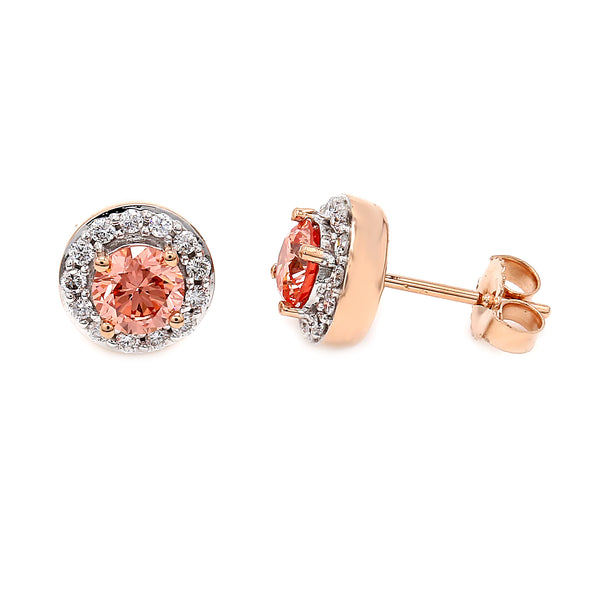 14K Rose Gold 1.05CTTW Lab Grown Pink and White Diamond Halo Stud Earrings