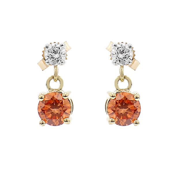 14K Yellow Gold 1.80CTTW Lab Grown Diamond Orange and White Double Drop Earrings
