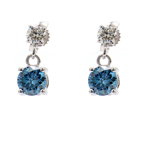 14K White Gold 1.80CTTW Lab Grown Diamond Royal Blue and White Double Drop Earrings