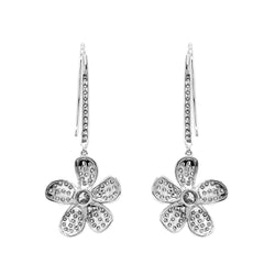 14K White Gold 2.00 CTW Lab-Grown Diamond Flower Drop Earrings