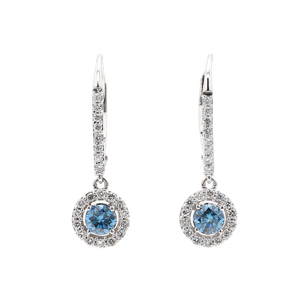 14K White Gold 0.97CTTW Lab Grown Diamond Royal Blue and White Halo Drop Earrings