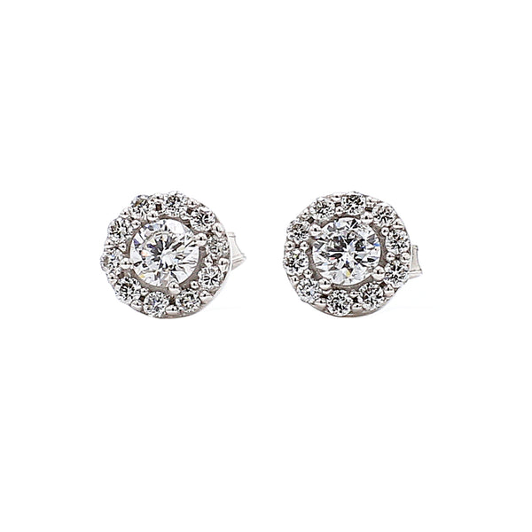 14K White Gold 0.50CTTW Lab Ground Diamond Small Circle Halo Stud Earrings