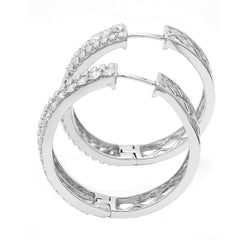 14K White Gold 2.00CTTW Lab Grown Diamond Pave Hoop Earrings