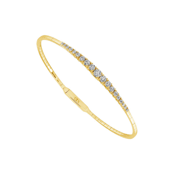 14K Yellow Gold 0.90 ct. tw. Graduated Diamond Flexible Bangle