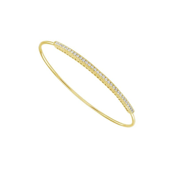 14K Yellow Gold 0.50 ct. tw. Pave Diamond Bar Flexible Bangle