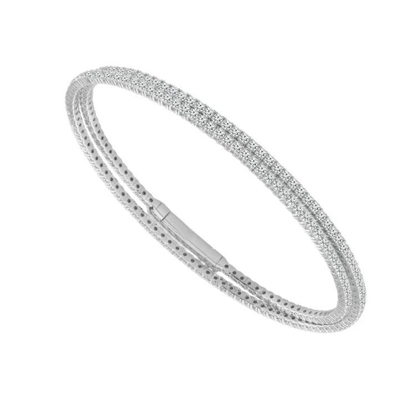 14K White Gold 2.75 ct. tw. Pave Diamond Double Row Flexible Bangle