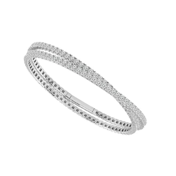 14K White Gold 6.50 ct. tw. Pave Diamond Double Row Flexible Bangle