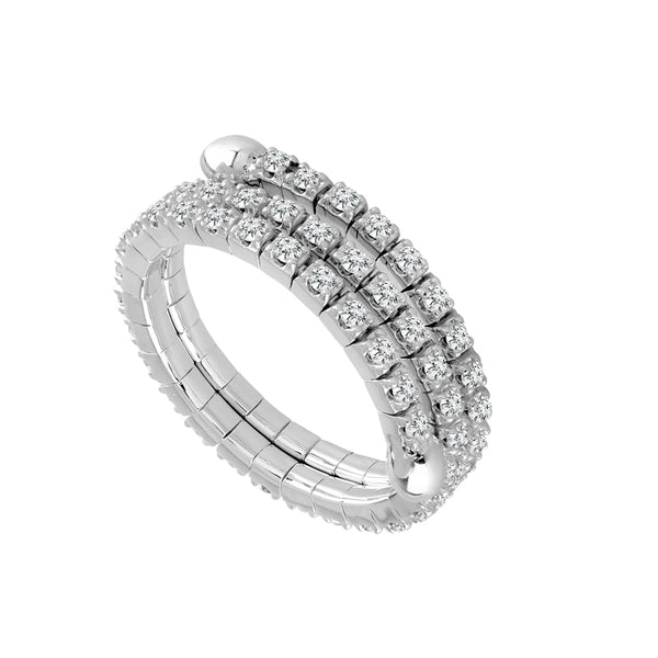 14K White Gold 0.65 ct. tw. Diamond 3 Row Flexible Eternity Band