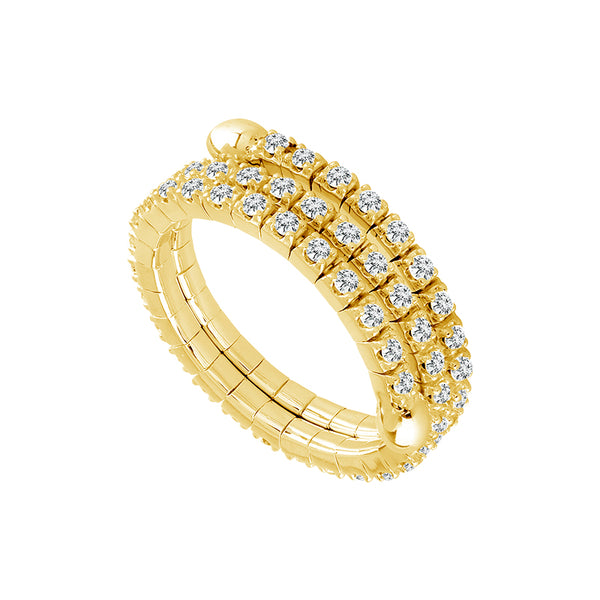 14K Yellow Gold 0.65 ct. tw. Diamond 3 Row Flexible Eternity Band