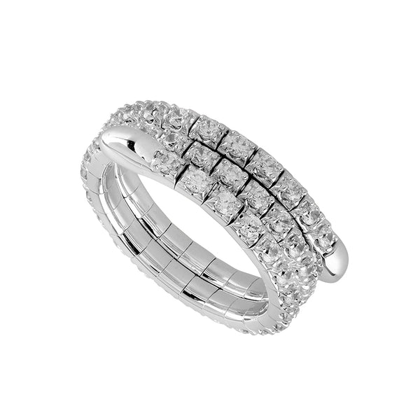 14K White Gold 1.00 ct. tw. Diamond 3 Row Flexible Eternity Band