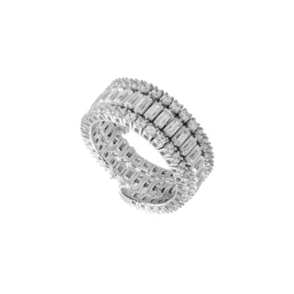 14K White Gold 2.00 ct. tw. Diamond 3 Row Flexible Eternity Band